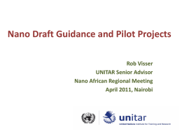 Nano Draft Guidance and Pilot Projects Rob Visser UNITAR Senior Advisor Nano African Regional Meeting April 2011, Nairobi.