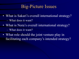 Big-Picture Issues • What is Sakari's overall international strategy? – What does it want?  • What is Nora's overall international strategy? – What does.