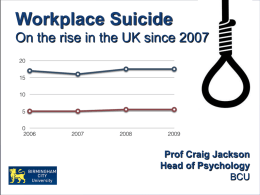 Workplace Suicide On the rise in the UK since 2007  Prof Craig Jackson Head of Psychology BCU.