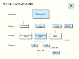 NSF/GEO and MARGINS  Geosciences  Directorate:  Divisions:  Sections:  Atmosphere  Integrated Programs Section  Ocean  Earth  Marine Geosciences Section  Deep Earth Processes  Oceans Section  $0.4M  Programs:  ODP  MGG  $2.5-3.0M $2.5-3.0M MARGINS Personnel - OCE  Directorate:  Geosciences  Division:  Sections:  Programs:  Julie Morris, Division Director of OCE  Ocean  Marine Geosciences Section  ODP  Tim Killeen, Assistant Director  Rodey Batiza, Section.