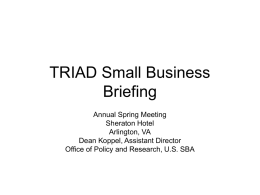 TRIAD Small Business Briefing Annual Spring Meeting Sheraton Hotel Arlington, VA Dean Koppel, Assistant Director Office of Policy and Research, U.S.