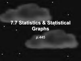 7.7 Statistics & Statistical Graphs p.445 An intro to Statistics • Statistics – numerical values used to summarize & compare sets of data (such as.