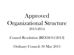 Approved Organizational Structure 2013-2014 Council Resolution [RES38/05/2013] Ordinary Council: 30 May 2013 Key Processes & Functions: Office of the Mayor/Speaker  • • • • •  Political Leadership Accountability & Oversight Good Governance Councillor Support Public.