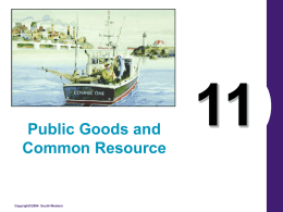 Public Goods and Common Resource  Copyright©2004 South-Western What's Important in Chapter 11 • Four Kinds of Goods • Public Goods • Common Resources  Copyright © 2004