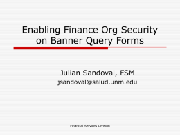 Enabling Finance Org Security on Banner Query Forms  Julian Sandoval, FSM jsandoval@salud.unm.edu  Financial Services Division.