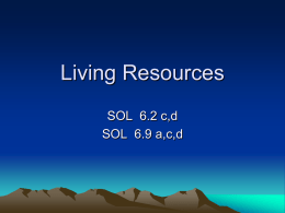 Living Resources SOL 6.2 c,d SOL 6.9 a,c,d Living Resources Chapter 3 Section 1