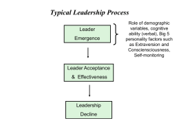 Typical Leadership Process Leader Emergence  Leader Acceptance & Effectiveness  Leadership Decline  Role of demographic variables, cognitive ability (verbal), Big 5 personality factors such as Extraversion and Consciensciousness, Self-monitoring.