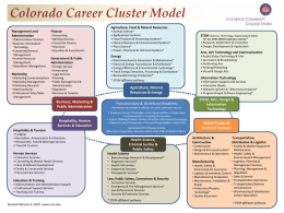 Colorado Career Cluster Model Agriculture, Food & Natural Resources Management and Administration • Administrative Services • Business Information Technology • Corporate/General Management • Human Resource Management • Operations Management  Finance  • Animal Science* •