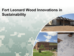 Fort Leonard Wood Innovations in Sustainability  US Army Corps of Engineers  BUILDING STRONG®