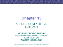Chapter 15 APPLIED COMPETITIVE ANALYSIS MICROECONOMIC THEORY BASIC PRINCIPLES AND EXTENSIONS EIGHTH EDITION  WALTER NICHOLSON Copyright ©2002 by South-Western, a division of Thomson Learning.
