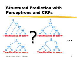 Structured Prediction with Perceptrons and CRFs S  S  VP  VP  PP NP N V P D N Time flies like an arrow S VP NP  NP  N N V D N Time flies like an arrow 600.465 - Intro to NLP.