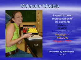 Molecular Models Legend to color representation of the elements Carbon = BLACK Nitrogen = BLUE Hydrogen = YELLOW Oxygen = RED Kristi Presented by Kami Dykes Lab # 2