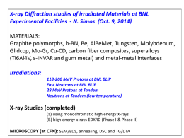 X-ray Diffraction studies of irradiated Materials at BNL Experimental Facilities - N.