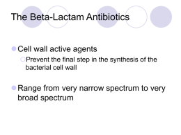 The Beta-Lactam Antibiotics Cell wall active agents Prevent the final step in the synthesis of the bacterial cell wall  Range from very narrow spectrum.