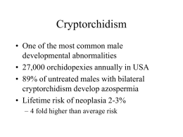 Cryptorchidism • One of the most common male developmental abnormalities • 27,000 orchidopexies annually in USA • 89% of untreated males with bilateral cryptorchidism develop.
