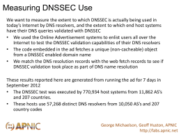 Measuring DNSSEC Use We want to measure the extent to which DNSSEC is actually being used in today's Internet by DNS resolvers,