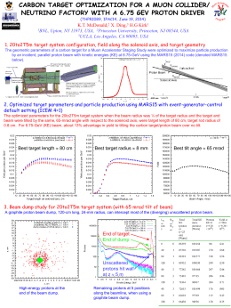 CARBON TARGET OPTIMIZATION FOR A MUON COLLIDER/ NEUTRINO FACTORY WITH A 6.75 GEV PROTON DRIVER (THPRI089, IPAC14, June 19, 2014)  1BNL,  K.T.