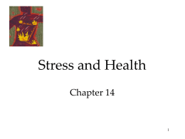 Stress and Health Chapter 14 Stress Psychological states cause physical illness. Stress is any circumstance (real or perceived) that threatens a person's well-being.  Lee Stone/