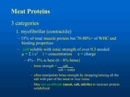 Meat Proteins 3 categories 1. myofibrillar (contractile) ~ 55% of total muscle protein but 70-80%+ of WHC and binding properties – salt soluble with ionic.