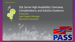 Ensuring IT services and operational continuity in the enterprise Protect mission critical SQL Server databases using Always On Technologies  Maintenance  Analysis  Testing  Solution Design  Implementation  Deployments and Best Practices.