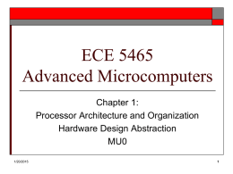 ECE 5465 Advanced Microcomputers Chapter 1: Processor Architecture and Organization Hardware Design Abstraction MU0 1/20/2015 Processor Architecture   Computer Architecture describes the user's view of the computer.       Instruction Set Visible Registers Memory.