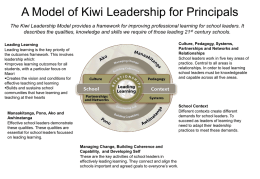 A Model of Kiwi Leadership for Principals The Kiwi Leadership Model provides a framework for improving professional learning for school leaders.