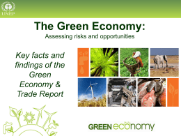 The Green Economy: Assessing risks and opportunities  Key facts and findings of the Green Economy & Trade Report.
