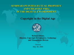 SEMINAR ON INTELLECTUAL PROPERTY AND CREATIVE SMEs IN THE DIGITAL ENVIRONMENT  Copyright in the Digital Age  Richard Owens Director, Copyright E-Commerce, Technology and Management Divison Geneva May 20,