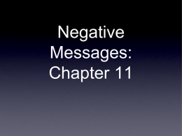 Negative Messages: Chapter 11 What is a negative message?  • In the business world, delivery and calculation errors, product malfunctions, or refusal of routine requests.
