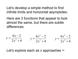 Let's develop a simple method to find infinite limits and horizontal asymptotes.  Here are 3 functions that appear to look almost the same,