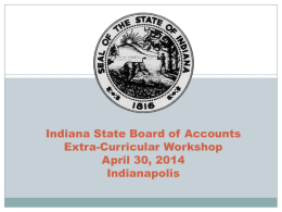 Indiana State Board of Accounts Extra-Curricular Workshop April 30, 2014 Indianapolis Contact Information  Phone number – (317) 232-2512  Address – 302 W.