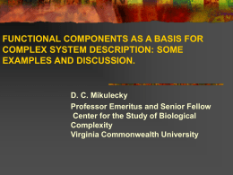 FUNCTIONAL COMPONENTS AS A BASIS FOR COMPLEX SYSTEM DESCRIPTION: SOME EXAMPLES AND DISCUSSION.  D.
