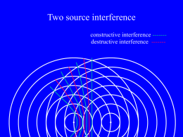 Two source interference constructive interference ------destructive interference ------- Two source interference Path difference = S2P – S1P = 1 wavelength =  P constructive interference ------destructive interference.