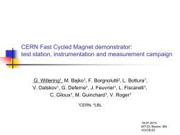 CERN Fast Cycled Magnet demonstrator: test station, instrumentation and measurement campaign  G.