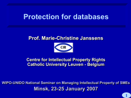 Protection for databases Prof. Marie-Christine Janssens  Centre for Intellectual Property Rights Catholic University Leuven - Belgium  WIPO-UNIDO National Seminar on Managing Intellectual Property of.