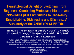 Hematological Benefit of Switching From Regimens Combining Protease Inhibitors and Zidovudine plus Lamivudine to Once-daily Emtricitabine, Didanosine and Efavirenz.