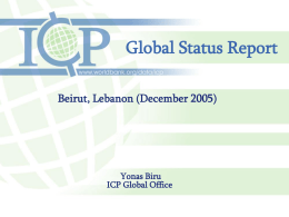 Global Status Report Beirut, Lebanon (December 2005)  Yonas Biru ICP Global Office Summary Status Of The Ongoing Consumption Surveys In Five Regions Report On Regional.