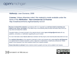 Author(s): Joan Durrance, 2009 License: Unless otherwise noted, this material is made available under the terms of the Attribution - Non-commercial 3.0