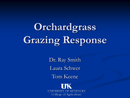 Orchardgrass Grazing Response Dr. Ray Smith Laura Schwer Tom Keene Methods Two similar orchardgrass plants were chosen from greenhouse.  Both were managed the same for 6 months:   