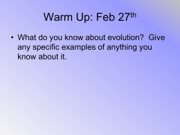 Warm Up: Feb 27th • What do you know about evolution? Give any specific examples of anything you know about it.