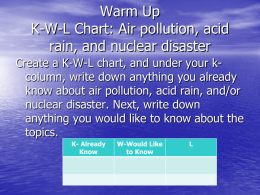 Warm Up K-W-L Chart: Air pollution, acid rain, and nuclear disaster Create a K-W-L chart, and under your kcolumn, write down anything you.