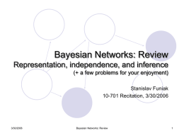 Bayesian Networks: Review Representation, independence, and inference (+ a few problems for your enjoyment) Stanislav Funiak 10-701 Recitation, 3/30/2006  3/30/2006  Bayesian Networks: Review.