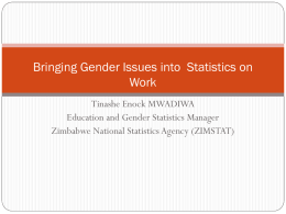 Bringing Gender Issues into Statistics on Work Tinashe Enock MWADIWA Education and Gender Statistics Manager Zimbabwe National Statistics Agency (ZIMSTAT)
