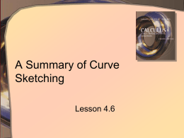 A Summary of Curve Sketching Lesson 4.6 How It Was Done BC (Before Calculators)  • How can knowledge of a function and it's derivative help.