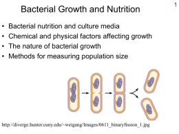 Bacterial Growth and Nutrition • • • •  Bacterial nutrition and culture media Chemical and physical factors affecting growth The nature of bacterial growth Methods for measuring population.