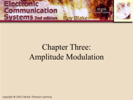 Chapter Three: Amplitude Modulation Introduction • Amplitude Modulation is the simplest and earliest form of transmitters • AM applications include broadcasting in medium- and high-frequency.