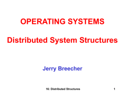 OPERATING SYSTEMS Distributed System Structures  Jerry Breecher  16: Distributed Structures DISTRIBUTED STRUCTURES This chapter sets the foundation for our discussion about networks and distributed.