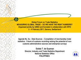 Global Forum on Trade Statistics MEASURING GLOBAL TRADE – DO WE HAVE THE RIGHT NUMBERS? Organized jointly by UNSD and Eurostat in.