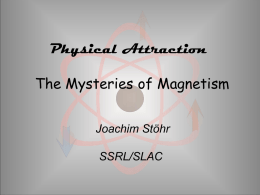"Physical Attraction The Mysteries of Magnetism Joachim Stöhr SSRL/SLAC Magnetism and Humans Magnetic Attraction  ""Animal Magnetism"" – Mesmerizing – Magnetic Healing."