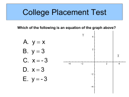 College Placement Test Which of the following is an equation of the graph above?  A.